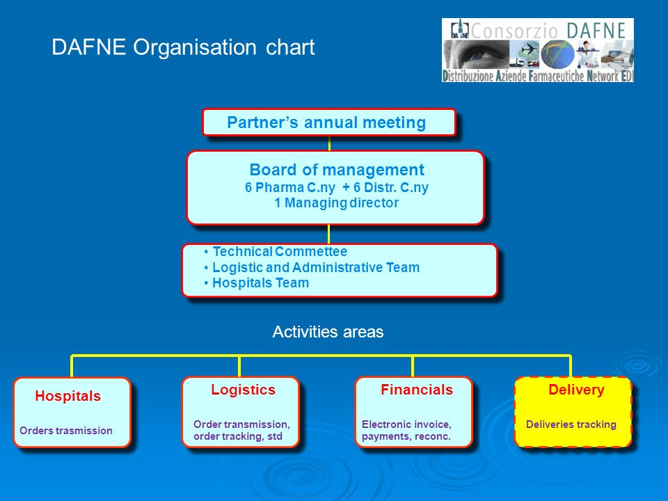 DAFNE Organisation chart Board of management 6 Pharma C.ny + 6 Distr.