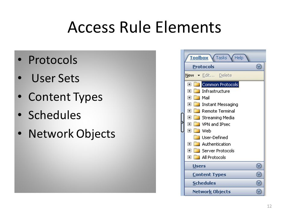 12 Access Rule Elements Protocols User Sets Content Types Schedules Network Objects