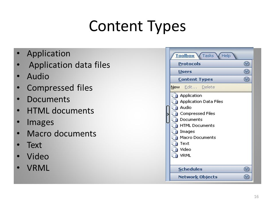 16 Content Types Application Application data files Audio Compressed files Documents HTML documents Images Macro documents Text Video VRML