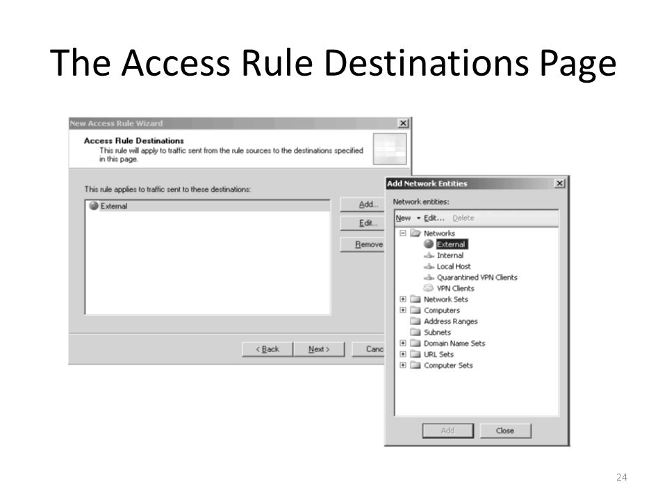 24 The Access Rule Destinations Page