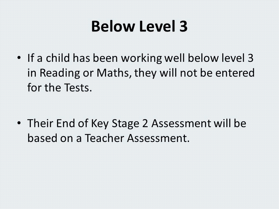Below Level 3 If a child has been working well below level 3 in Reading or Maths, they will not be entered for the Tests.