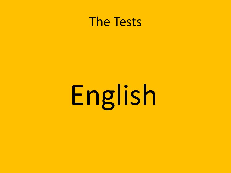 The Tests English