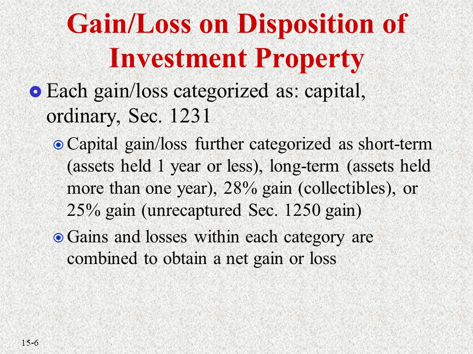 15-6 Gain/Loss on Disposition of Investment Property  Each gain/loss categorized as: capital, ordinary, Sec.