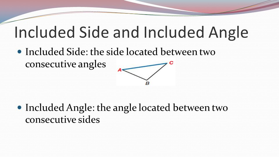 Included Side and Included Angle Included Side: the side located between two consecutive angles Included Angle: the angle located between two consecutive sides