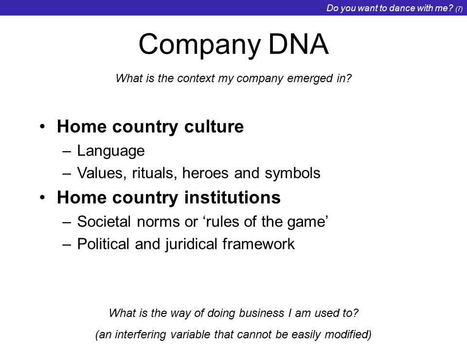 Do you want to dance with me. (7) Company DNA What is the context my company emerged in.