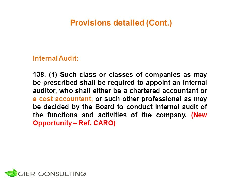 Provisions detailed (Cont.) Internal Audit: 138.