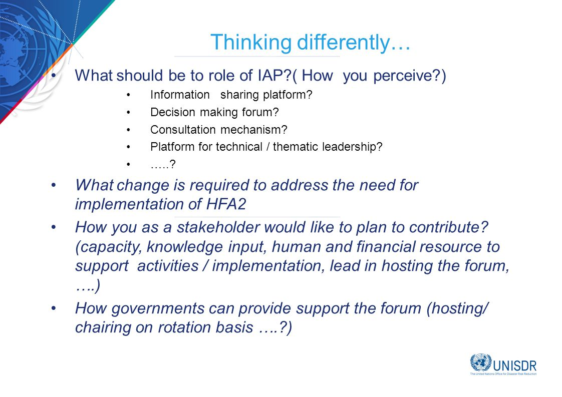 Thinking differently… What should be to role of IAP ( How you perceive ) Information sharing platform.