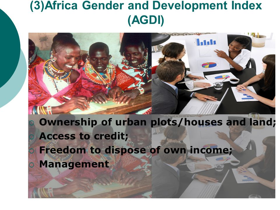(3)Africa Gender and Development Index (AGDI)  Ownership of urban plots/houses and land;  Access to credit;  Freedom to dispose of own income;  Management