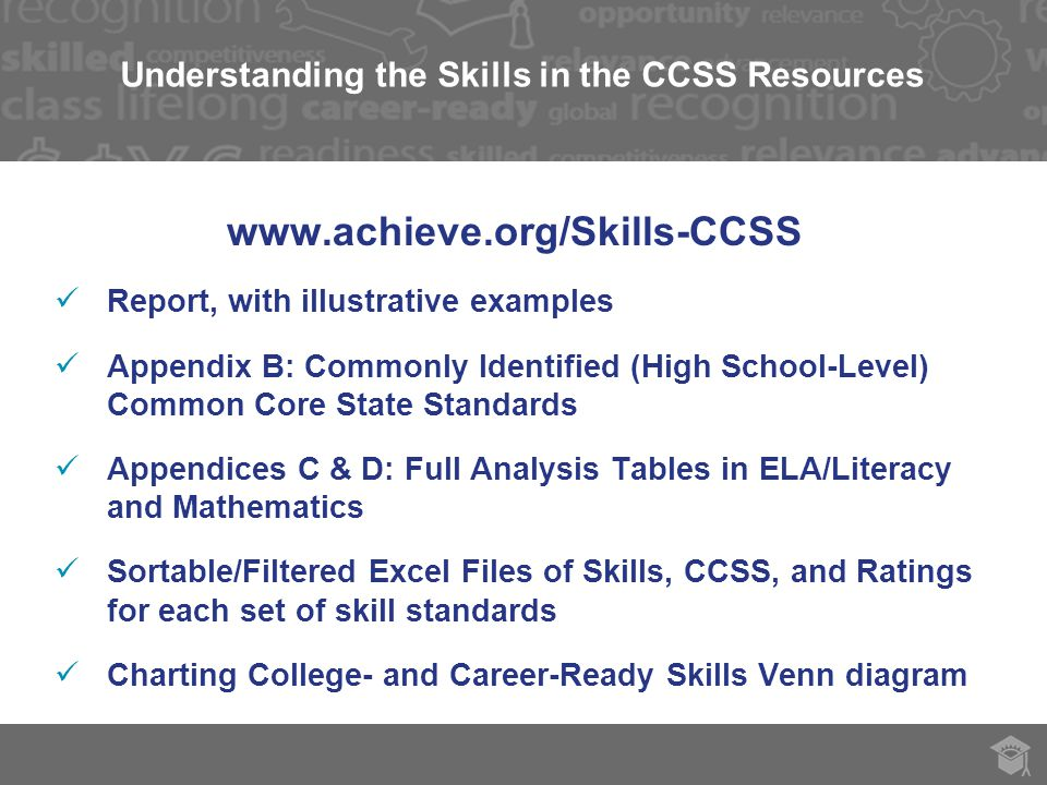 Understanding the Skills in the CCSS Resources   Report, with illustrative examples Appendix B: Commonly Identified (High School-Level) Common Core State Standards Appendices C & D: Full Analysis Tables in ELA/Literacy and Mathematics Sortable/Filtered Excel Files of Skills, CCSS, and Ratings for each set of skill standards Charting College- and Career-Ready Skills Venn diagram