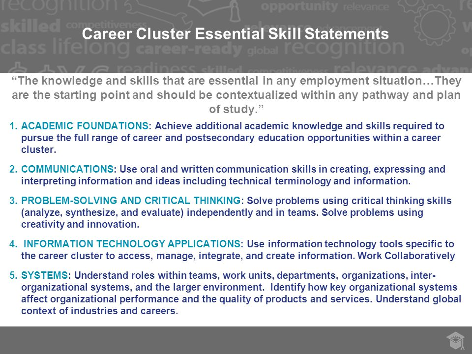 Career Cluster Essential Skill Statements The knowledge and skills that are essential in any employment situation…They are the starting point and should be contextualized within any pathway and plan of study. 1.ACADEMIC FOUNDATIONS: Achieve additional academic knowledge and skills required to pursue the full range of career and postsecondary education opportunities within a career cluster.