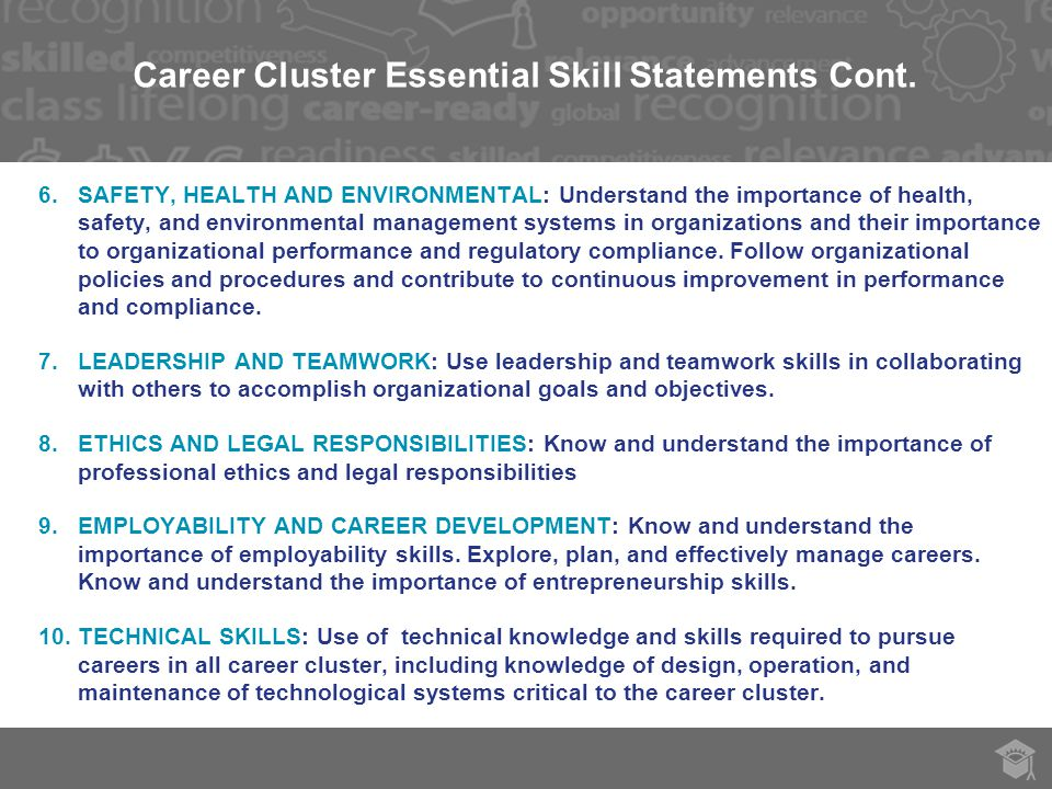 Career Cluster Essential Skill Statements Cont.