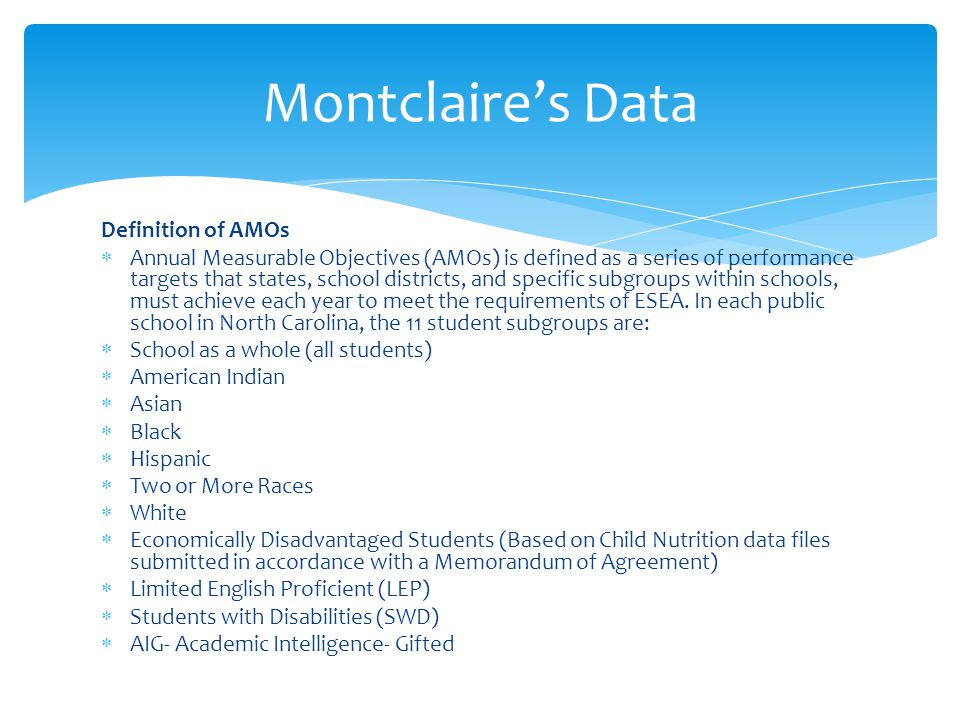 Definition of AMOs  Annual Measurable Objectives (AMOs) is defined as a series of performance targets that states, school districts, and specific subgroups within schools, must achieve each year to meet the requirements of ESEA.