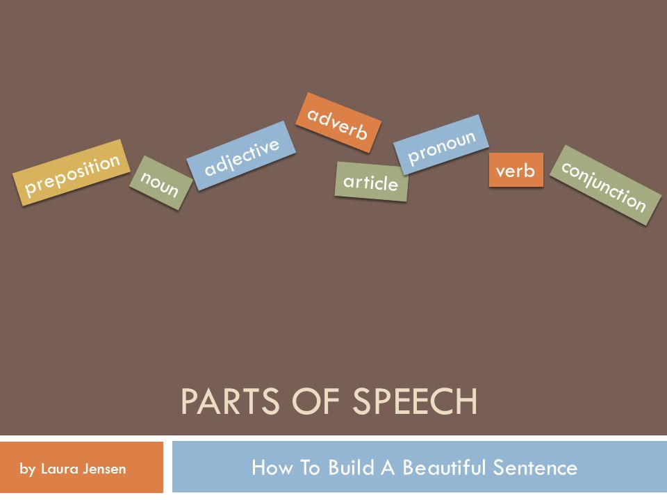 PARTS OF SPEECH How To Build A Beautiful Sentence noun verb adverb article preposition adjective conjunction pronoun by Laura Jensen
