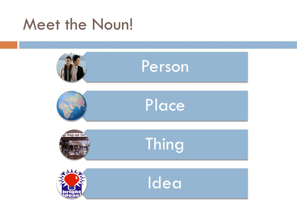Meet the Noun! Person Place Thing Idea
