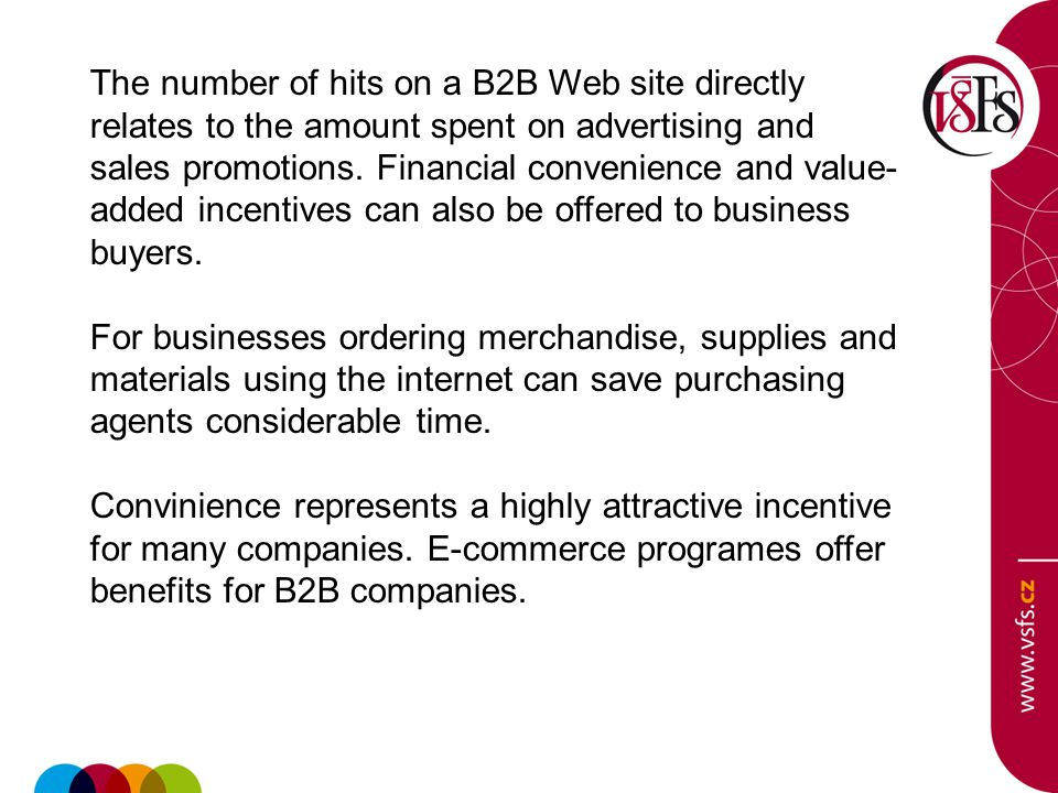 The number of hits on a B2B Web site directly relates to the amount spent on advertising and sales promotions.