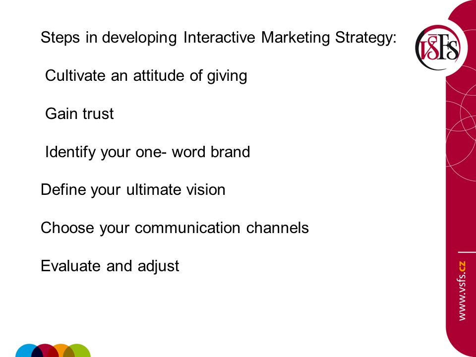 Steps in developing Interactive Marketing Strategy: Cultivate an attitude of giving Gain trust Identify your one- word brand Define your ultimate vision Choose your communication channels Evaluate and adjust