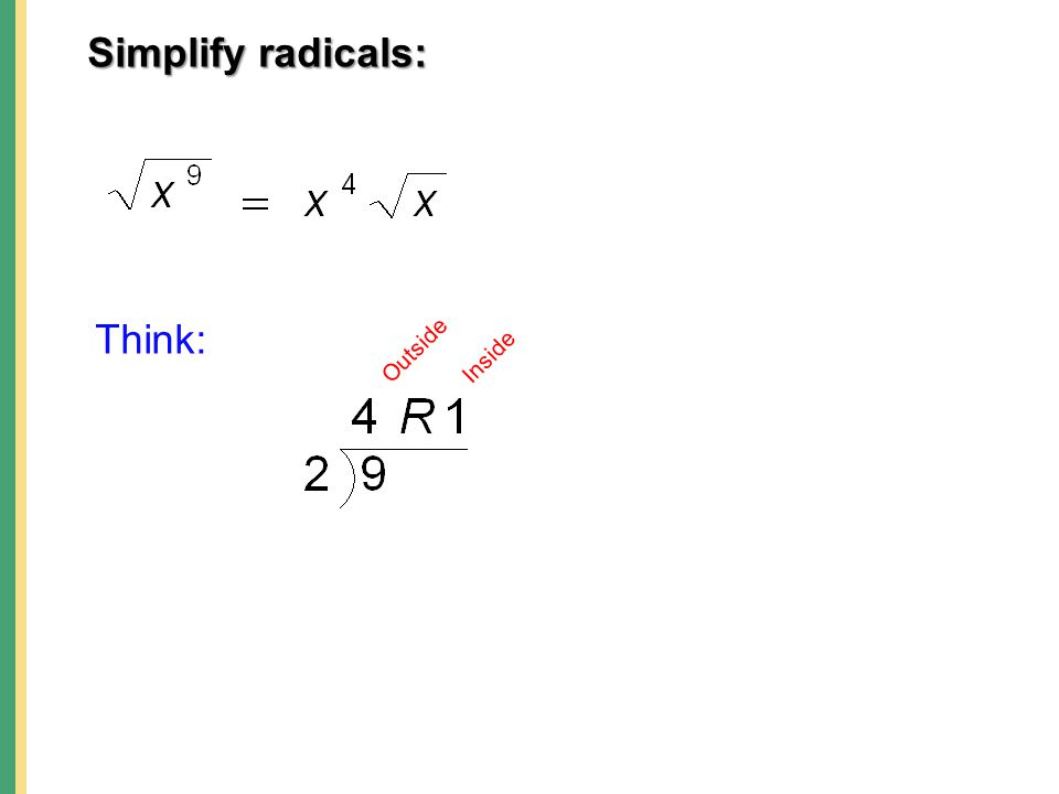 Simplify radicals: Outside Inside Think: