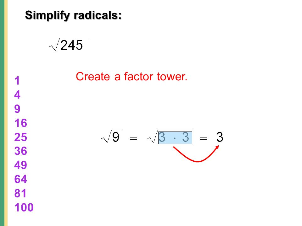Simplify radicals: Create a factor tower.