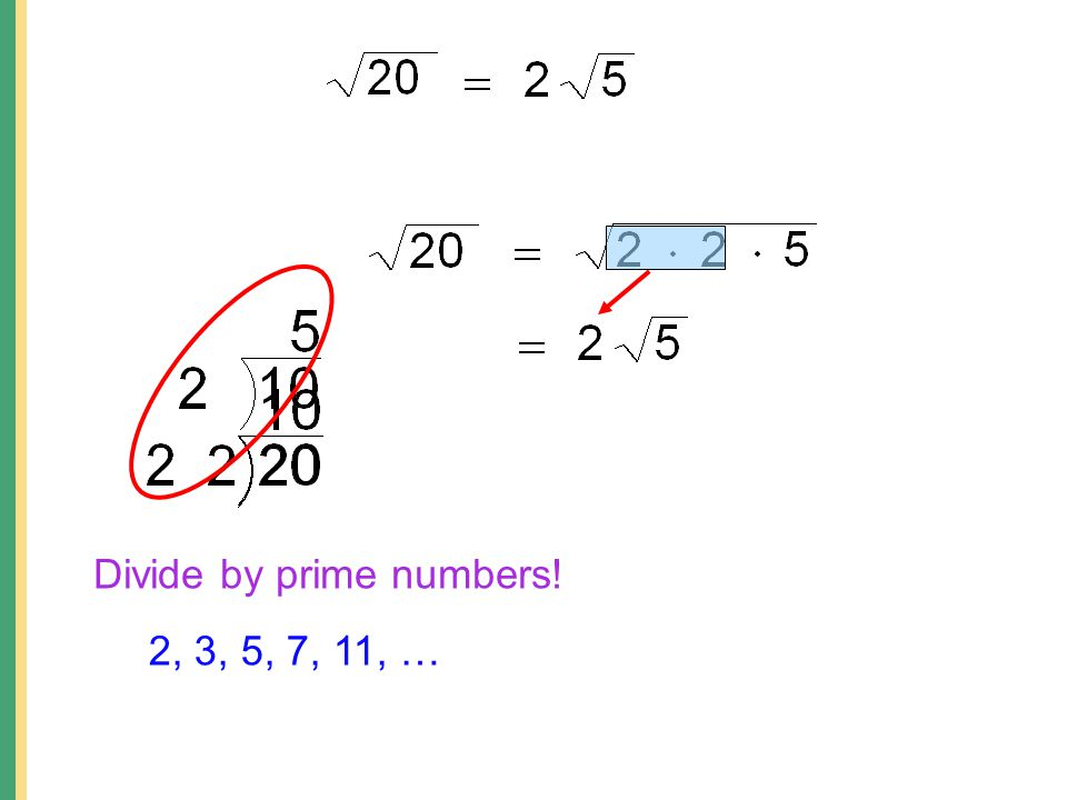 Divide by prime numbers! 2, 3, 5, 7, 11, …