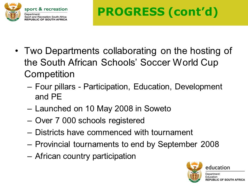 9 PROGRESS (cont'd) Two Departments collaborating on the hosting of the South African Schools' Soccer World Cup Competition –Four pillars - Participation, Education, Development and PE –Launched on 10 May 2008 in Soweto –Over schools registered –Districts have commenced with tournament –Provincial tournaments to end by September 2008 –African country participation