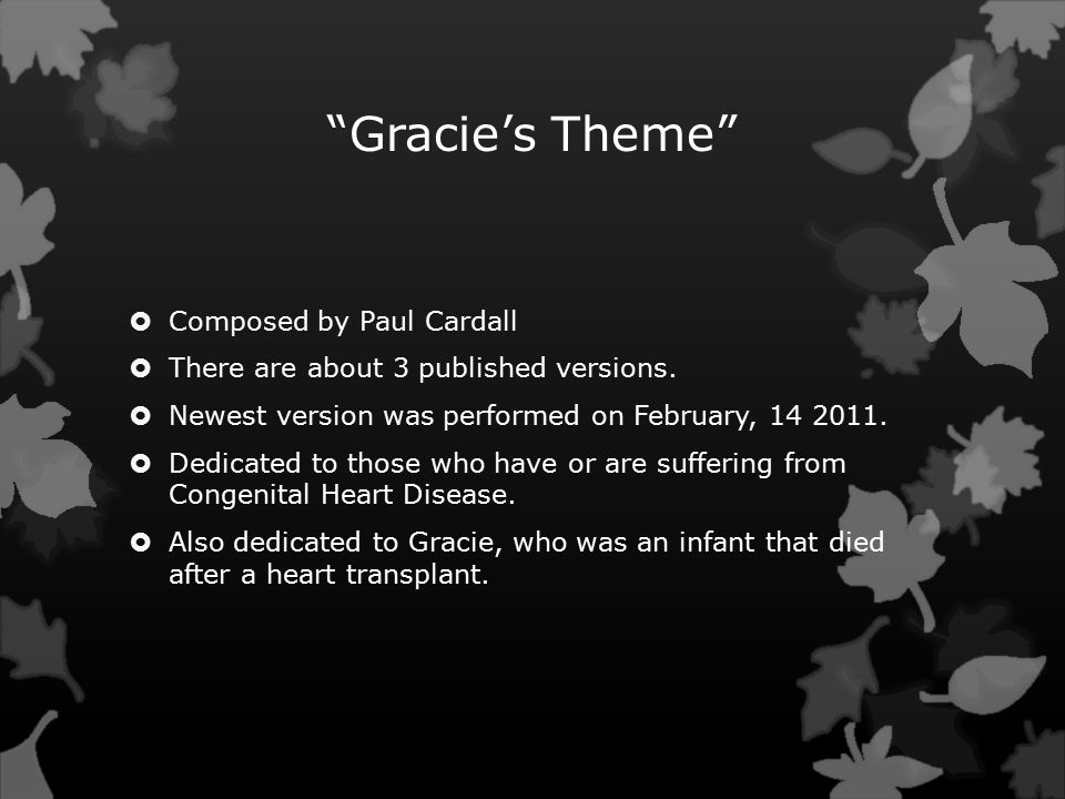 Gracie's Theme  Composed by Paul Cardall  There are about 3 published versions.