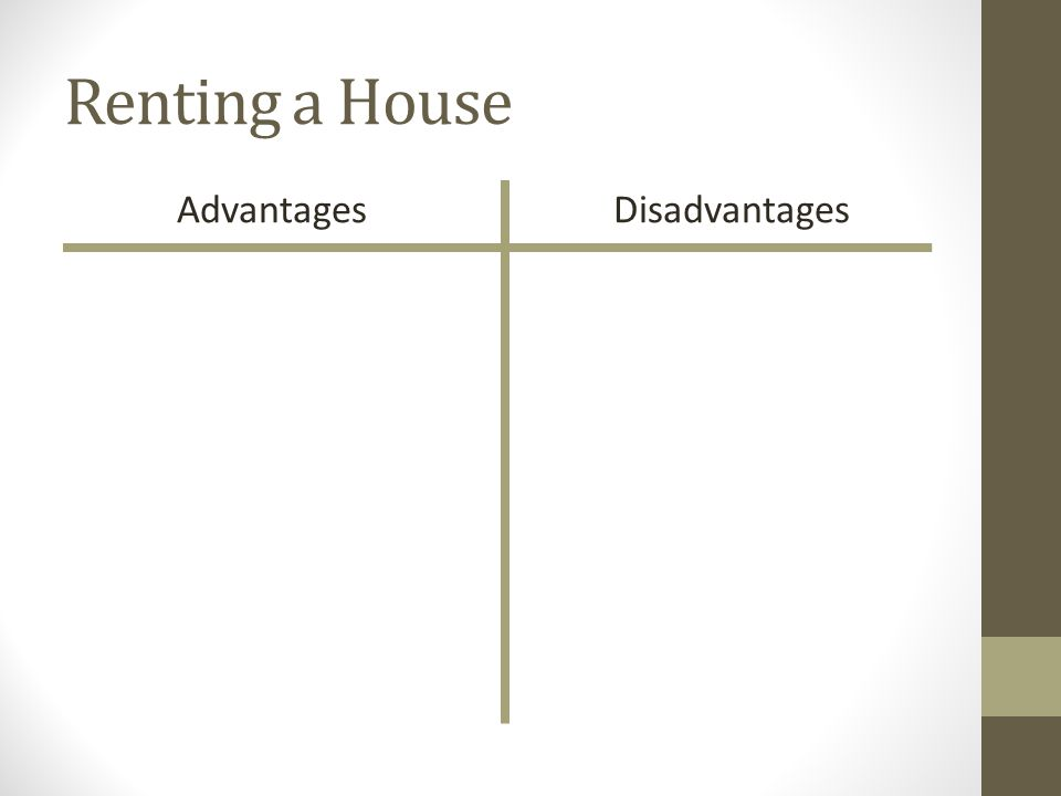 Renting a House AdvantagesDisadvantages