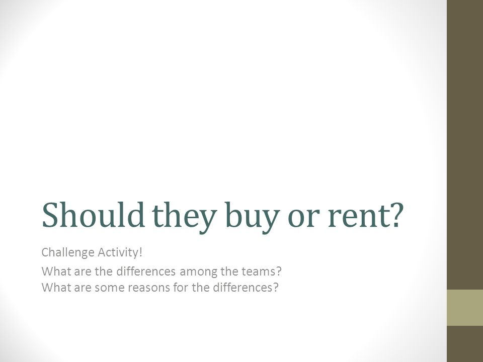 Should they buy or rent. Challenge Activity. What are the differences among the teams.