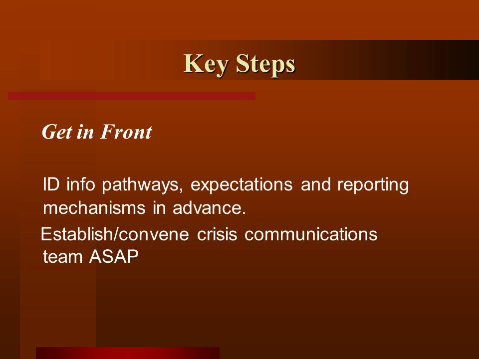 Key Steps ID info pathways, expectations and reporting mechanisms in advance.