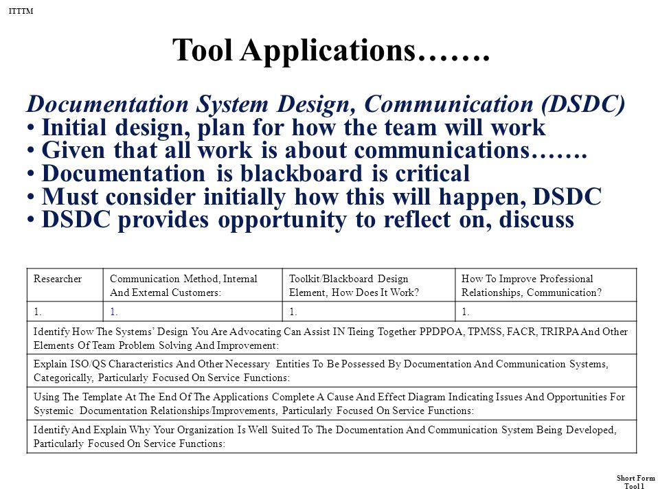 "ITTTM Short Form Tool 1 Tool 1 Short Form ""Technical Foundations ..."