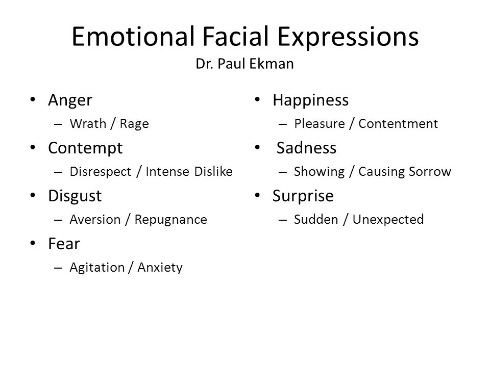 Emotional Facial Expressions Dr.