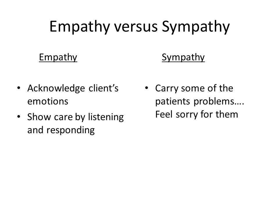 Empathy versus Sympathy Empathy Acknowledge client's emotions Show care by listening and responding Sympathy Carry some of the patients problems….