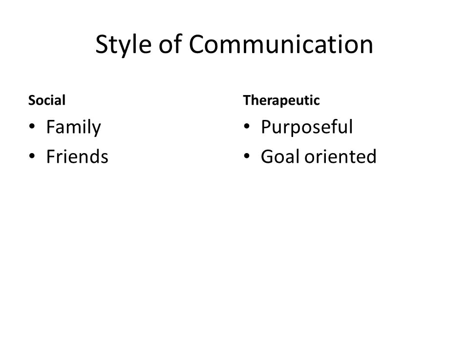 Style of Communication Social Family Friends Therapeutic Purposeful Goal oriented