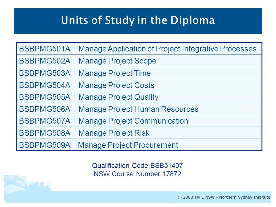 diploma of project management course outline nsw course number  2 units of study in the diploma bsbpmg501a manage application of project