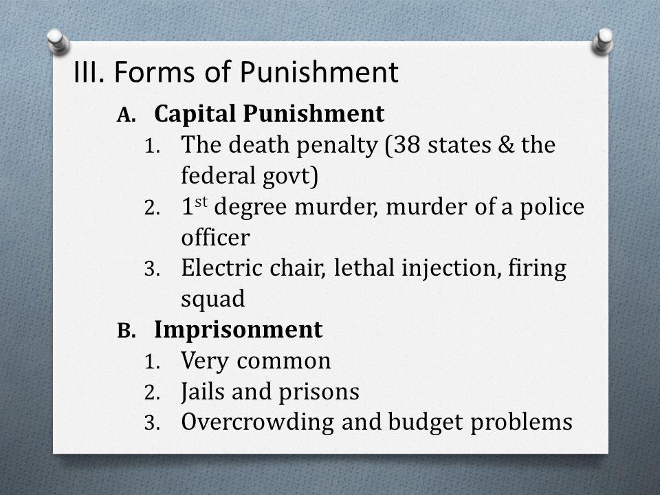 III. Forms of Punishment A. Capital Punishment 1.