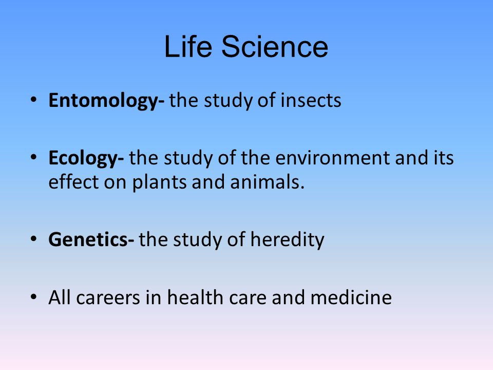 Life Science Entomology- the study of insects Ecology- the study of the environment and its effect on plants and animals.