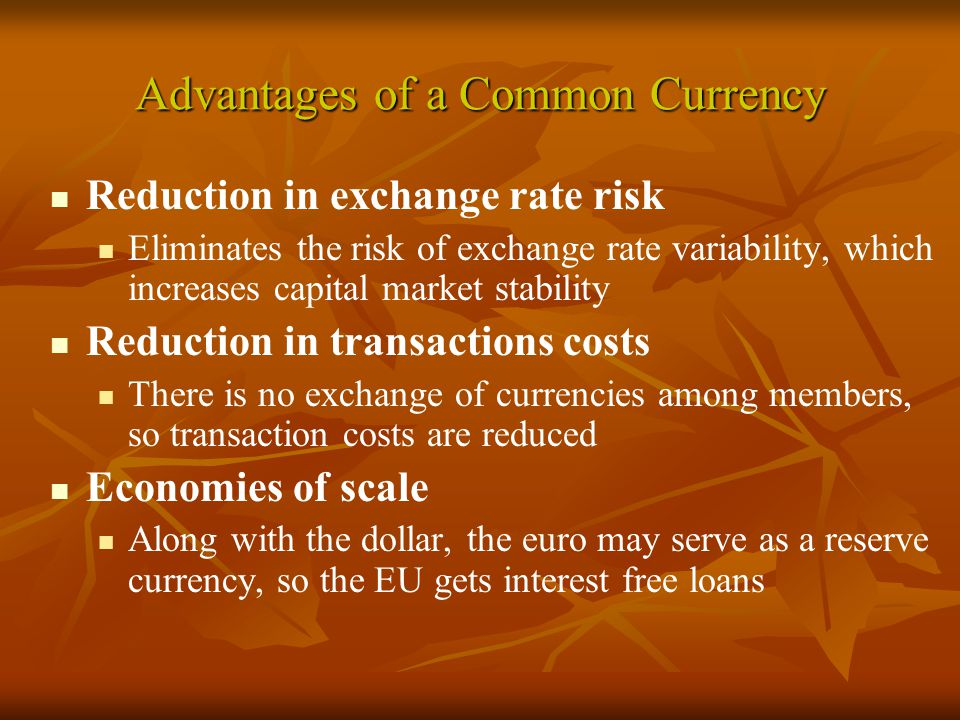 Advantages of a Common Currency Reduction in exchange rate risk Eliminates the risk of exchange rate variability, which increases capital market stability Reduction in transactions costs There is no exchange of currencies among members, so transaction costs are reduced Economies of scale Along with the dollar, the euro may serve as a reserve currency, so the EU gets interest free loans