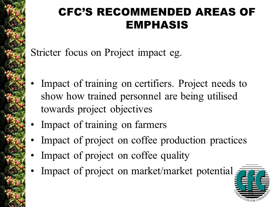 20 CFC'S RECOMMENDED AREAS OF EMPHASIS Stricter focus on Project impact eg.