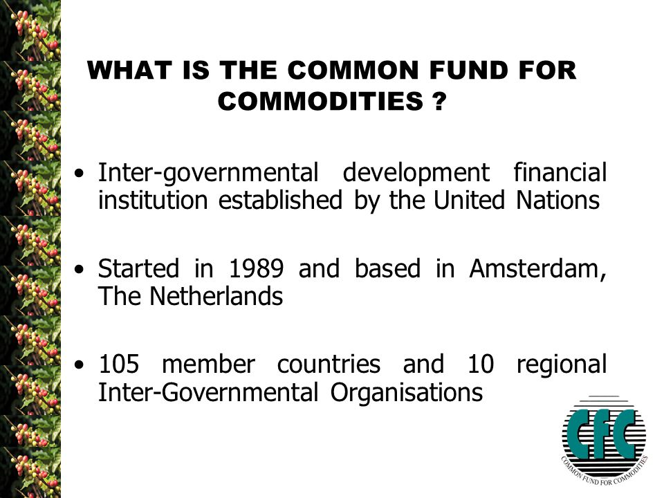 WHAT IS THE COMMON FUND FOR COMMODITIES .