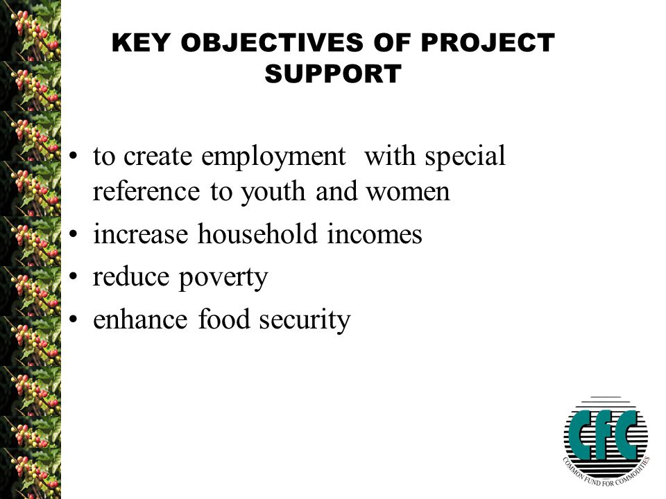 KEY OBJECTIVES OF PROJECT SUPPORT to create employment with special reference to youth and women increase household incomes reduce poverty enhance food security
