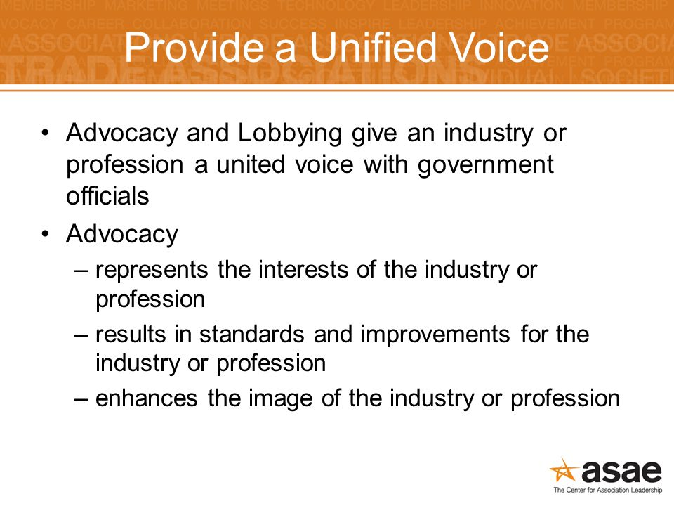 Provide a Unified Voice Advocacy and Lobbying give an industry or profession a united voice with government officials Advocacy –represents the interests of the industry or profession –results in standards and improvements for the industry or profession –enhances the image of the industry or profession