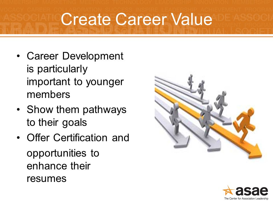 Create Career Value Career Development is particularly important to younger members Show them pathways to their goals Offer Certification and opportunities to enhance their resumes