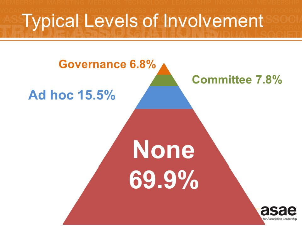 32 Typical Levels of Involvement Governance 6.8% Committee 7.8% Ad hoc 15.5% None 69.9%