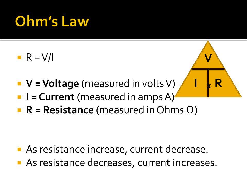  R = V/I  V = Voltage (measured in volts V)  I = Current (measured in amps A)  R = Resistance (measured in Ohms Ω)  As resistance increase, current decrease.