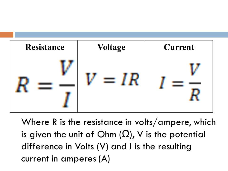 ResistanceVoltageCurrent Where R is the resistance in volts/ampere, which is given the unit of Ohm ( Ω ), V is the potential difference in Volts (V) and I is the resulting current in amperes (A)