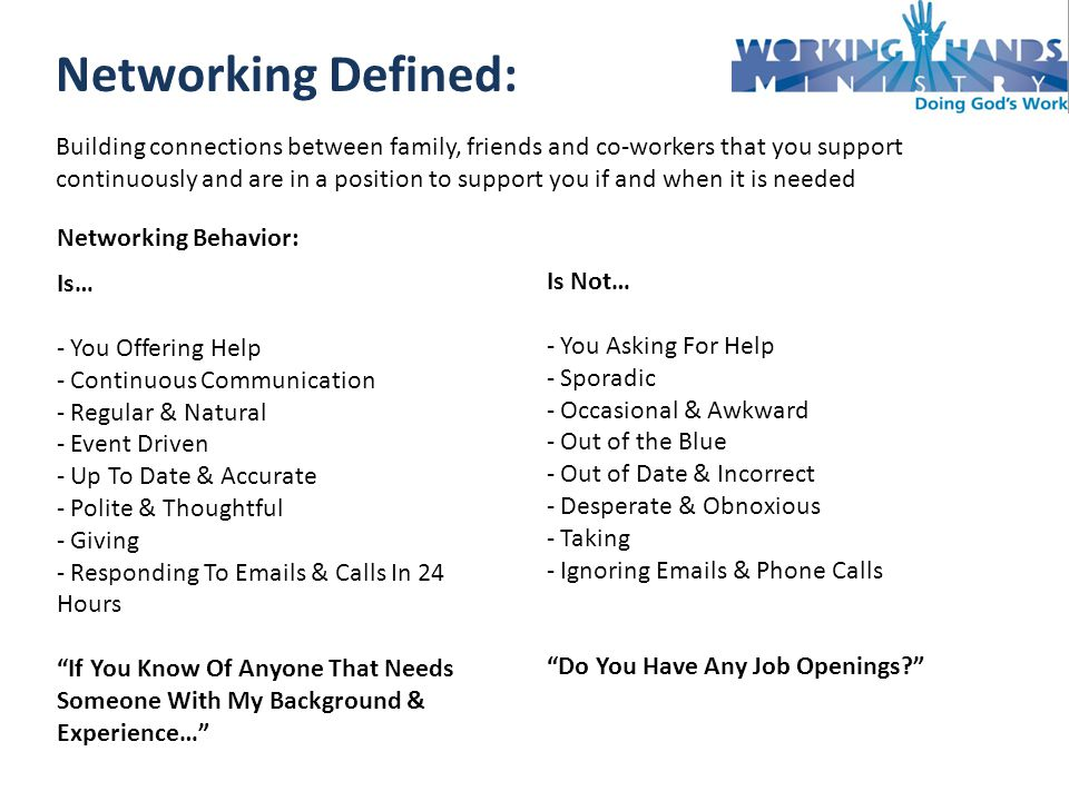Networking Defined: Building connections between family, friends and co-workers that you support continuously and are in a position to support you if and when it is needed Networking Behavior: Is… - You Offering Help - Continuous Communication - Regular & Natural - Event Driven - Up To Date & Accurate - Polite & Thoughtful - Giving - Responding To  s & Calls In 24 Hours If You Know Of Anyone That Needs Someone With My Background & Experience… Is Not… - You Asking For Help - Sporadic - Occasional & Awkward - Out of the Blue - Out of Date & Incorrect - Desperate & Obnoxious - Taking - Ignoring  s & Phone Calls Do You Have Any Job Openings
