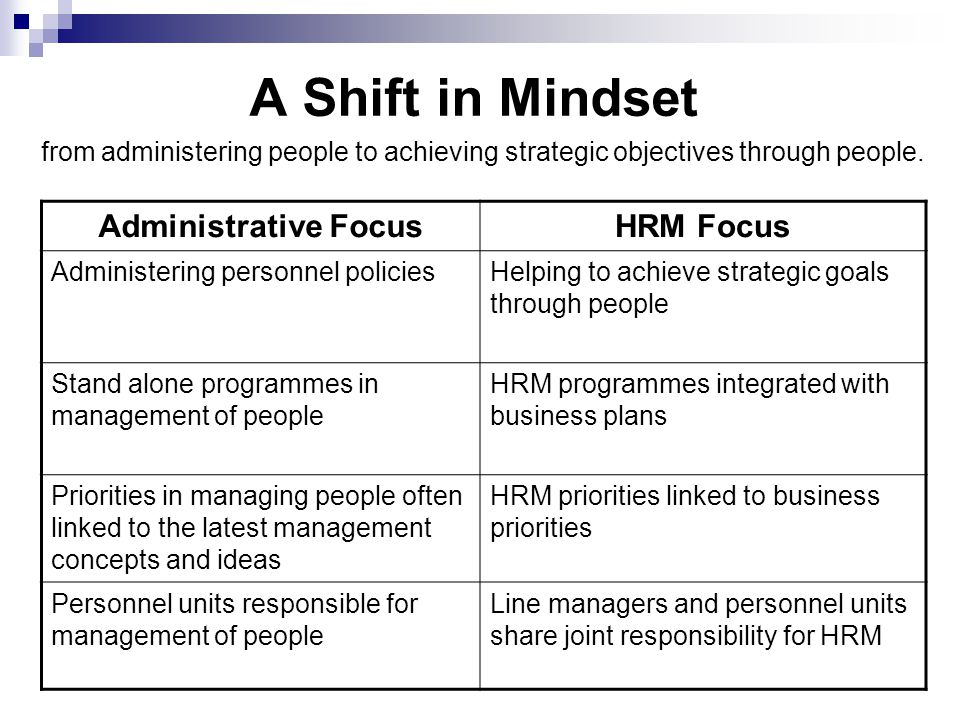 A Shift in Mindset from administering people to achieving strategic objectives through people.