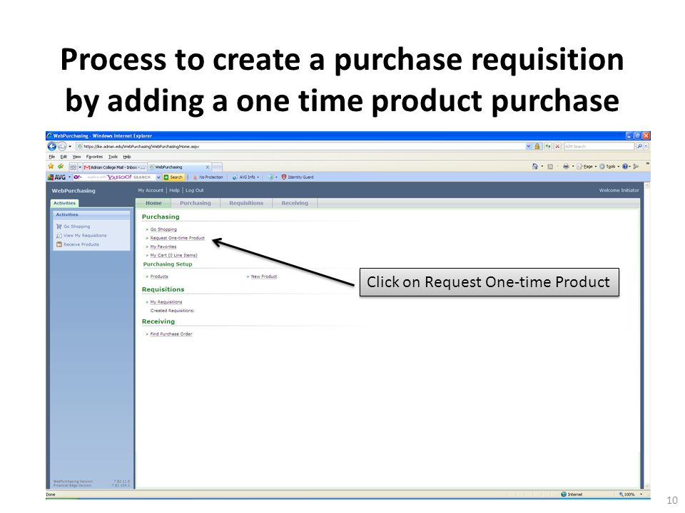 Click on Request One-time Product 10