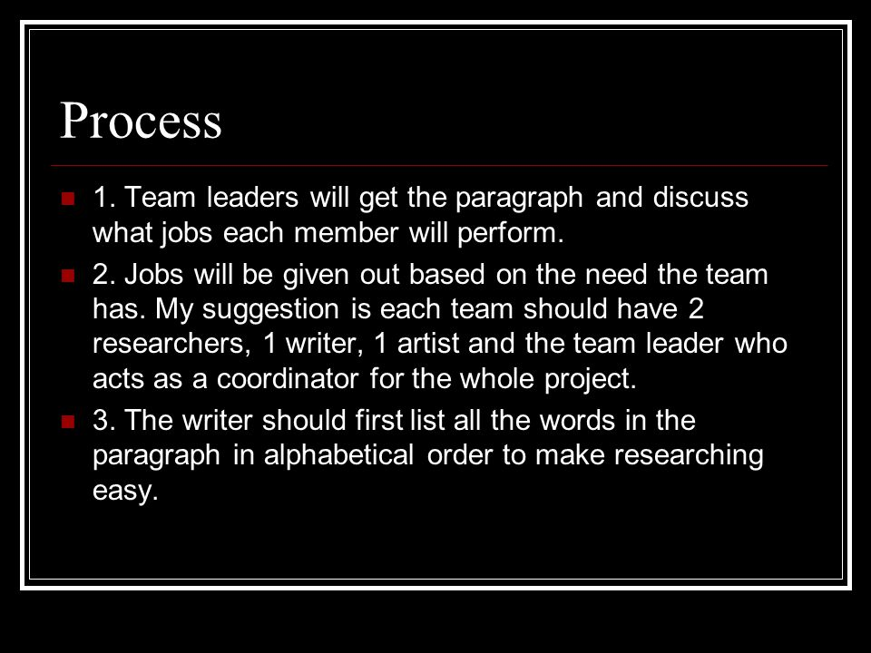Process 1. Team leaders will get the paragraph and discuss what jobs each member will perform.