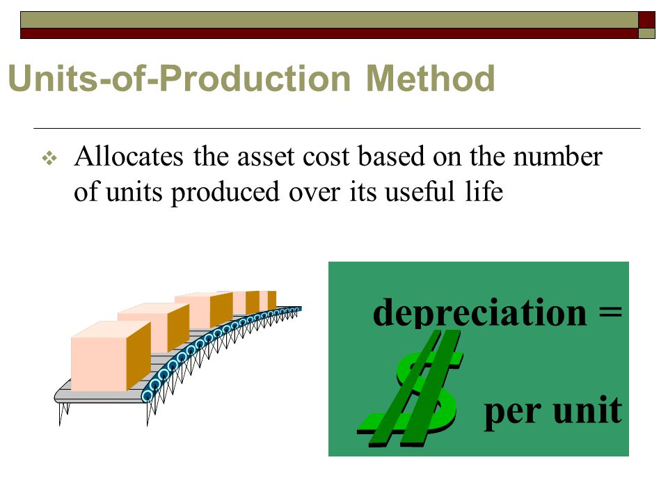 Units-of-Production Method  Allocates the asset cost based on the number of units produced over its useful life depreciation = per unit