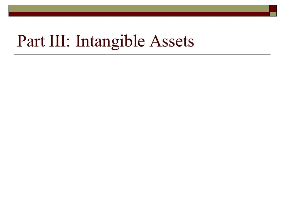 Part III: Intangible Assets